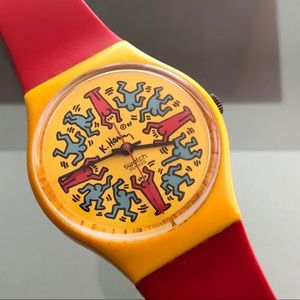 RARE Keith Haring Modele Avec Personnages Swatch